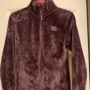 North Face wine colored Sherpa zip up